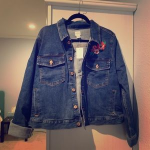 J.Crew Embroidered Denim Jacket 2x BN with Tags